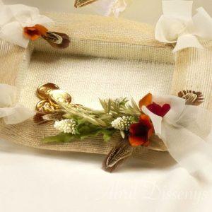 Bandeja porta anillos y arras con yute natural