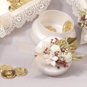 Joyero porta arras porcelana y guipur