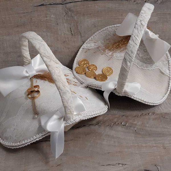 Set de Dos cestas de boda para anillos y arras