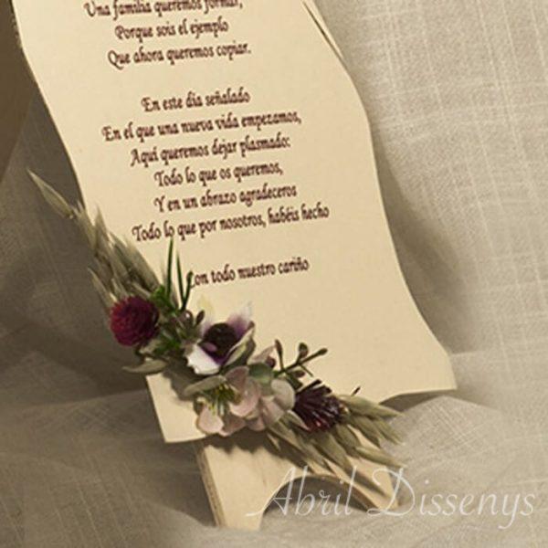 Atril con dedicatoria ramitos flores Eunice