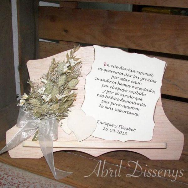 Atril con poesía y flor azahar Personalizado