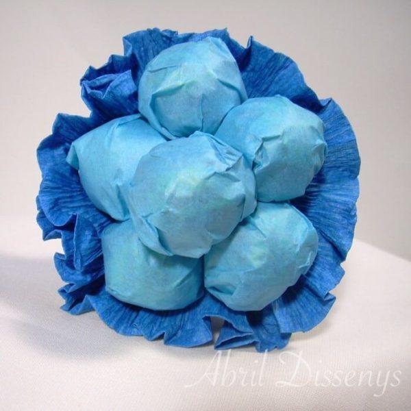 Bouquet con seis chupa chups detalle Azul