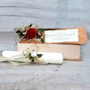 Caja Madera con Flor Preservada