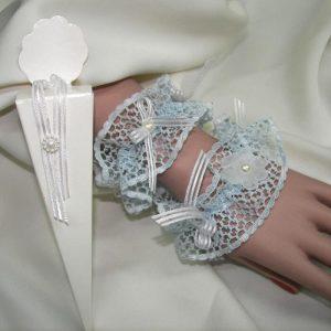 Liga pulsera azul flor y perla en caja