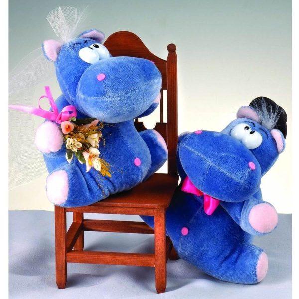 Novios hipopótamos silla madera pastel personalizado