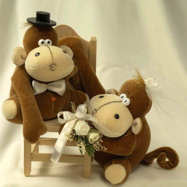 Novios monos de peluche para pastel personalizados