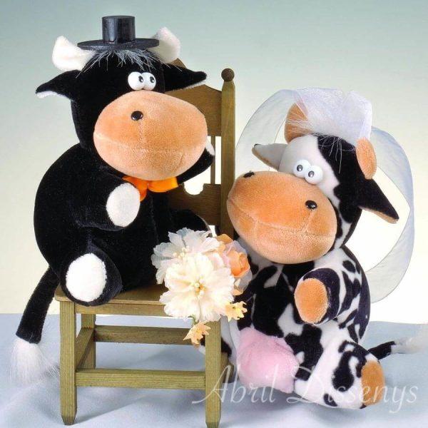 Novios vaca y toro silla para pastel personalizado