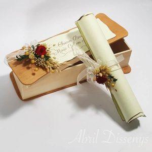 Pergamino poesia flor seca caja personalizada A 4