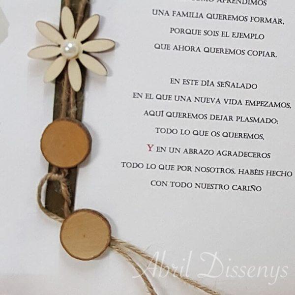 Pergaminos sentimientos y flores madera