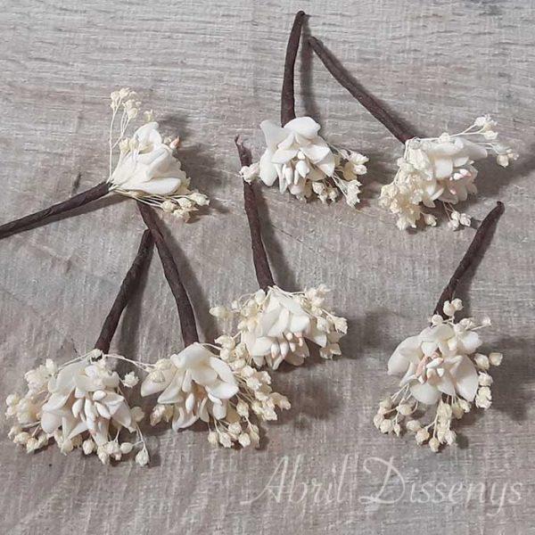 Pin pelo flor de azahar. Flores para el pelo. Novias