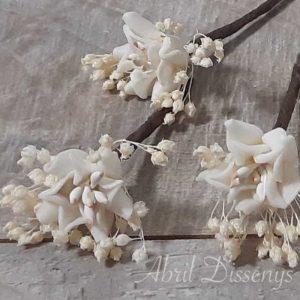 Pin de Flor de Azahar con Paniculata para el Pelo Presentación Set de Siete Unidades