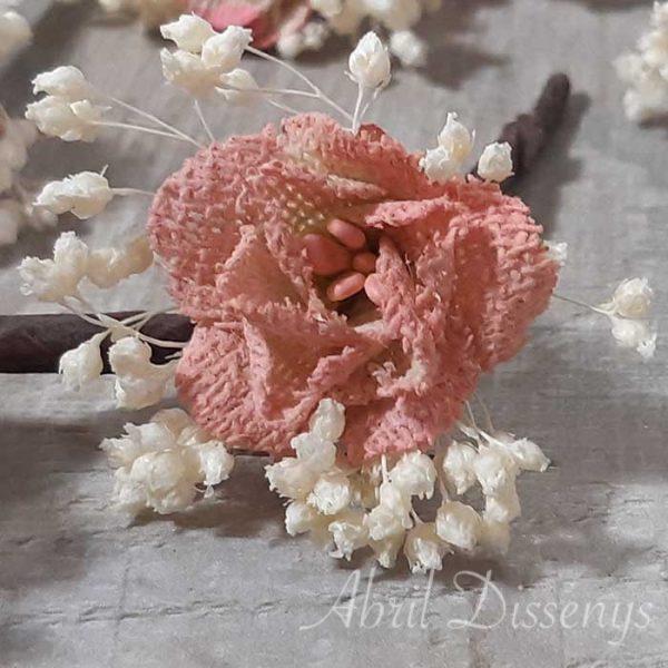 Pin Pelo Flor Rosa Nude Set de 7