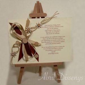 Poesía texto flor de madera Caballete