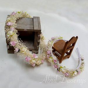 Set de corona y diadema rosas