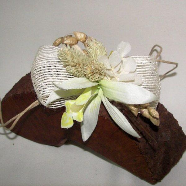Pulsera flores secas y yute
