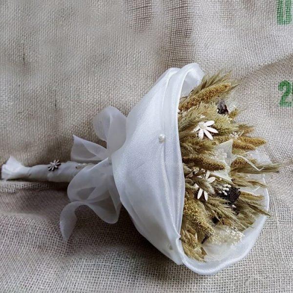 Ramo novia flor seca y madera y seda