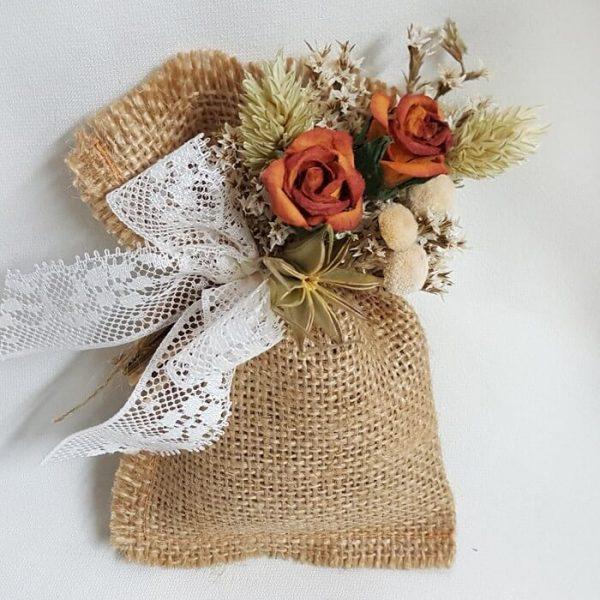 Bolsa lavanda con flor seca y encaje Nature