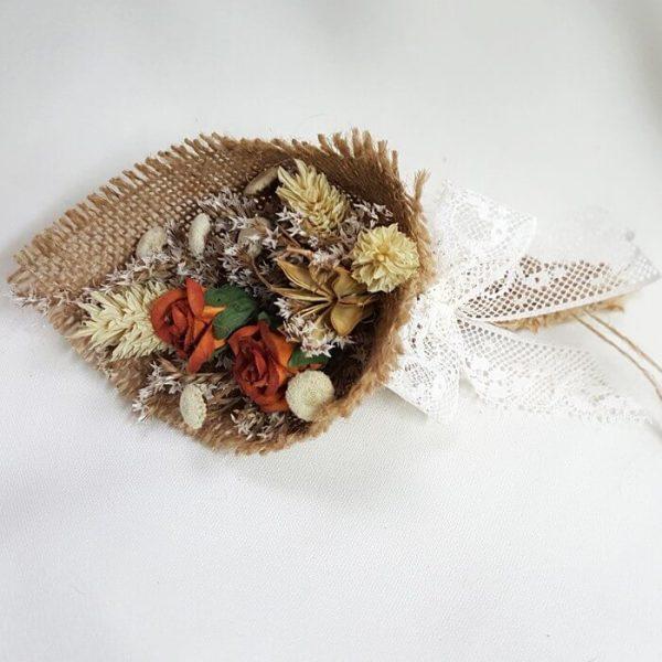 Bouquet flor seca y encaje y yute Nature