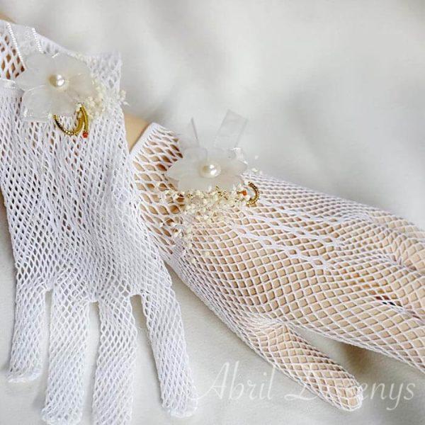 Guantes elásticos con perla y flor Glasse