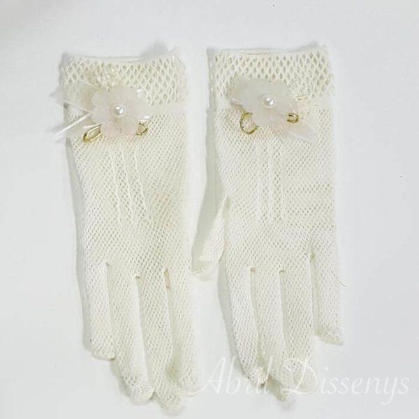 Guantes elasticos con perla y flor Glasse