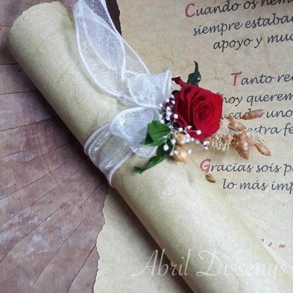 Pergamino y poesía novia original Inolvidable