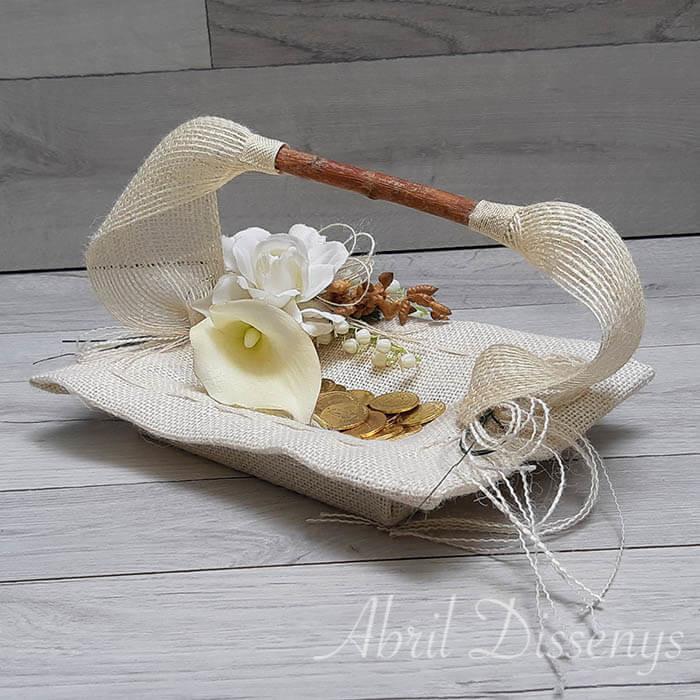 Set de cestas alianzas y arras con gardenias