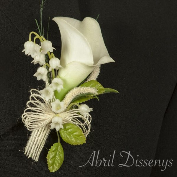 Solapa novio flor artificial cala y Muguet