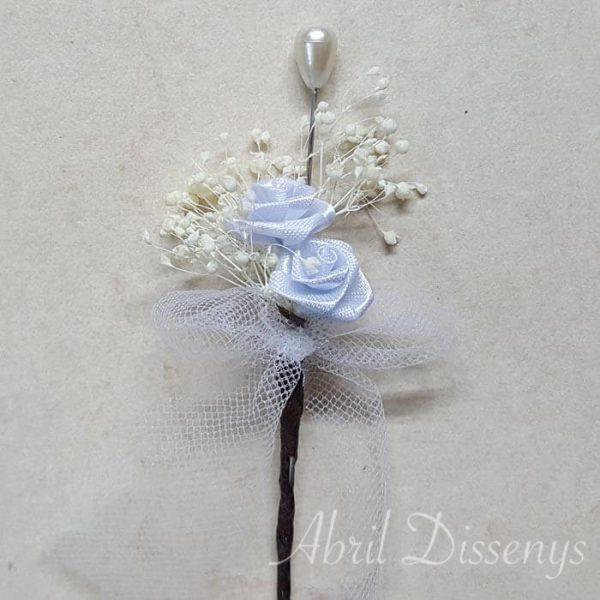 Alfiler 2 rosas flor seca lazo tul personalizado