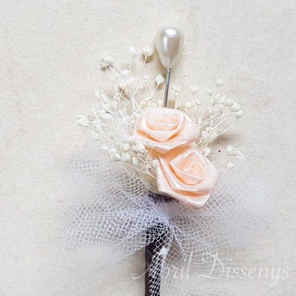 Alfiler 2 rosas azul flor seca lazo tul personalizado