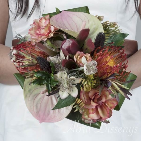 Bouquet novia redondo Anthurium