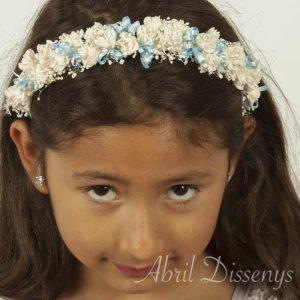 Diadema azul para niña con flores edelweiss