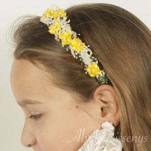 Diadema con flor miosoti y hortensia.