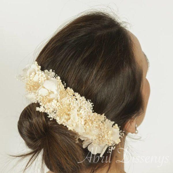Tocado semi corona hortensia