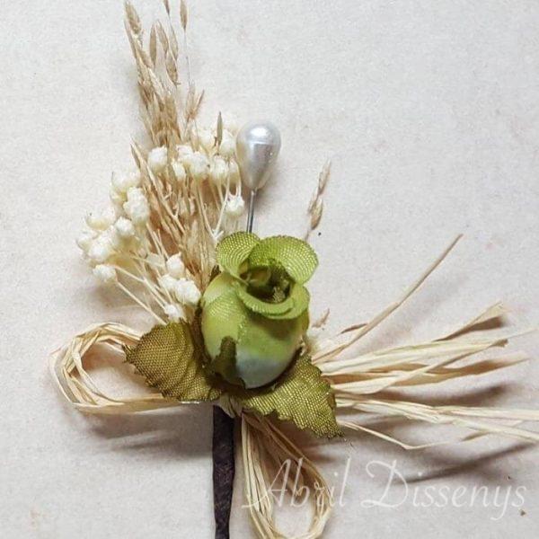 Alfiler flor seca y papaver lazo rafia