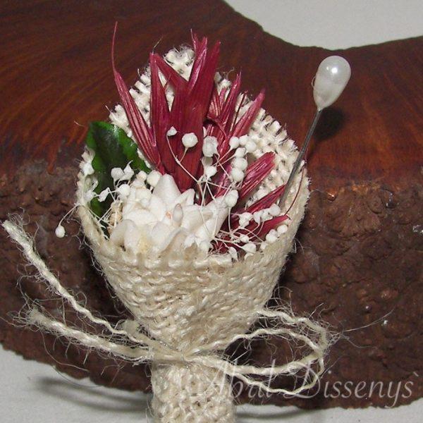 Alfiler de boda con flor seca, un alfiler en forma de bouquet