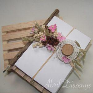 Palet marquetería flor seca papel y lapiz