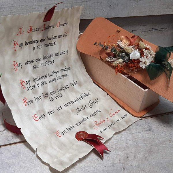 Pergamino escrito a mano lacres y cintas Din A 3