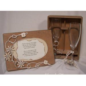 Copas cava brindis caja y flor de madera
