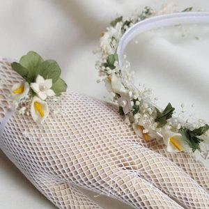 Diadema flores porcelana y guantes