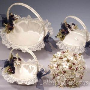 Set de boda 3 cestas 1 bouquet guipur
