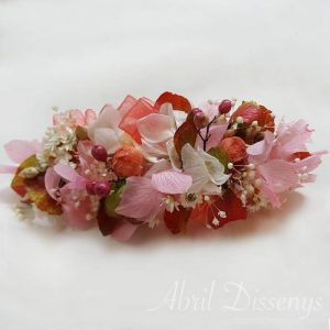 Tocado flor seca coral 14 X7