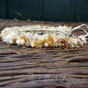 Corona flores hortensia Tiza
