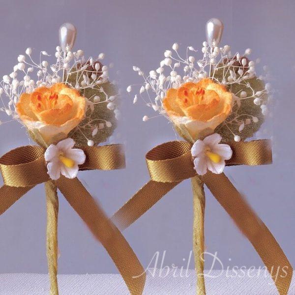 Alfiler boda flor seca y melocotón