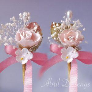 Alfiler boda flor seca y rosa nude