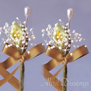 Alfiler flor seca y cala limón lazo personalizado