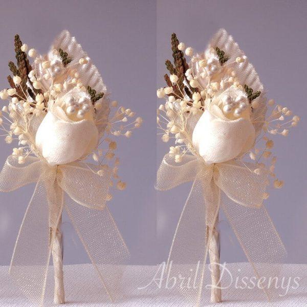 Alfiler novia flor seca y satén lazo personalizado