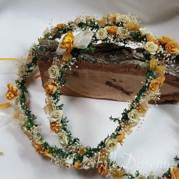 Corona flores paniculata y yute