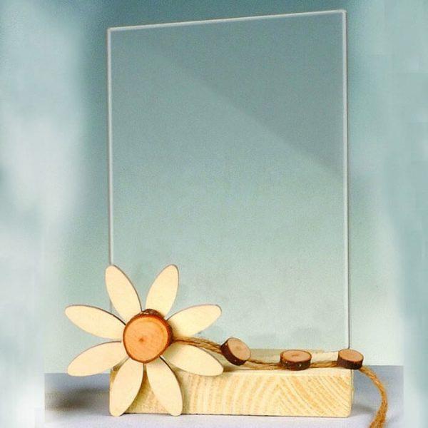 Portafoto de madera decor tronco y margaritas