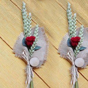 Ramillete de trigo y rosa preservada