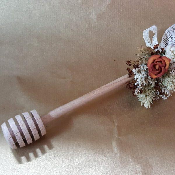 Cuchara miel con flor seca y encaje Nature